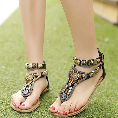 Low Heel Beading Thong Women's Sandals (Plus Size Available)