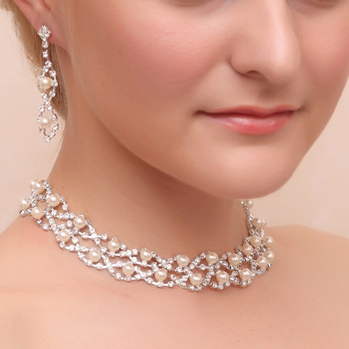 Pearls Rhinestone Wedding Jewelry Sets (Including Necklace and Earrings)