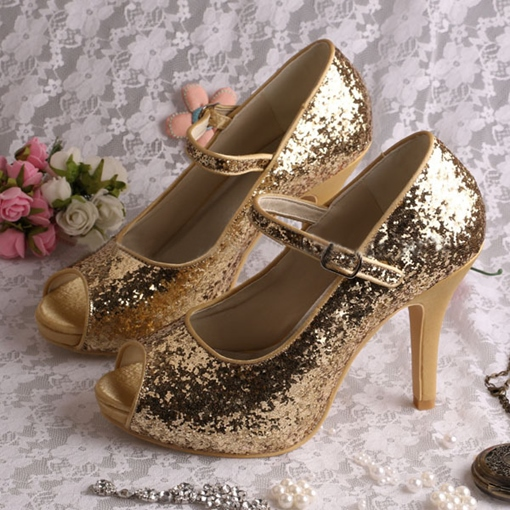 Golden Sequins Peep-Toe Stiletto Heel Bridal Wedding Shoes