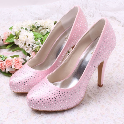 PU Beaded High Heel Closed-Toe Wedding Bridal Shoes