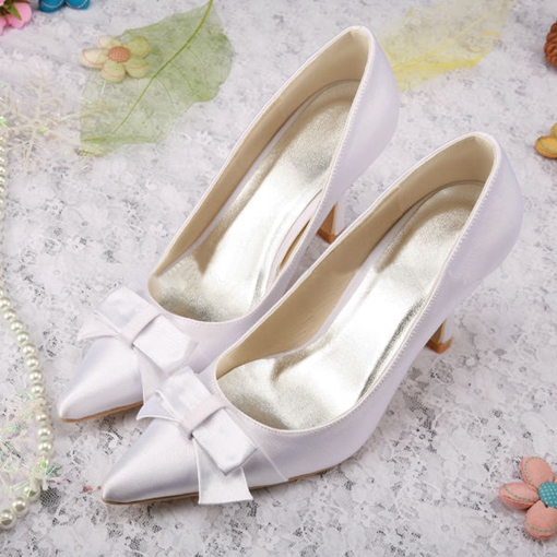 4e191ff780cc46 Yellow Satin Wedding Shoes - Tbdress.com