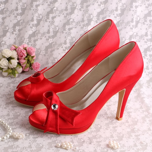 Satin Bowknot High Heel Peep-Toes Wedding Bridal Shoes