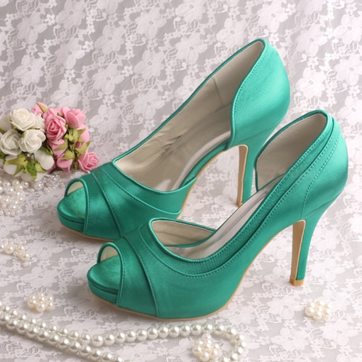 Satin Peep-Toe Stiletto Heels Wedding Shoes
