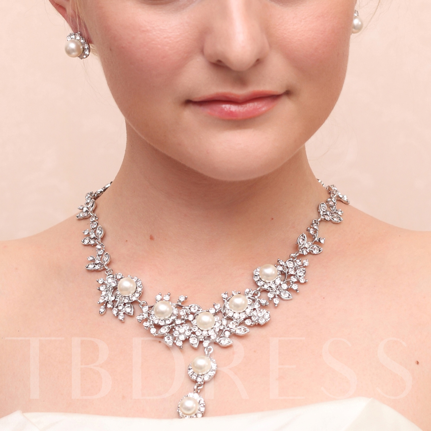 Image of Alloy with Rhinestones Wedding Jewelry Sets(Including Necklace and Earrings)