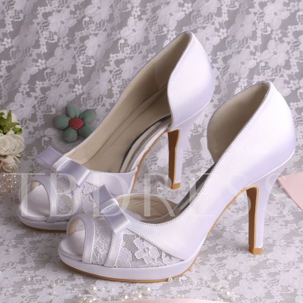 Buy Lace Satin Stiletto Heel Peep-Toe Wedding Bridal Shoes, Spring,Summer,Fall, 11350368 for $68.99 in TBDress store