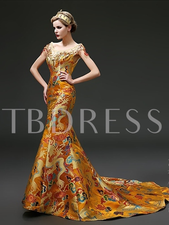 Round Mermaid Chinese Style Gragon Robe Court Train Evening Dress