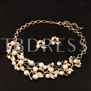 Imitation Pearl Leaf Earrings and Necklace Women's Jewelry Set