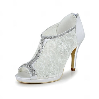 Inexpensive White Open Toe Lace Wedding Shoes