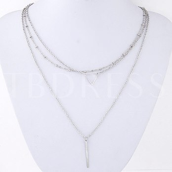 Fashion Metal Triangle Pendant Three-Layer Long Necklace