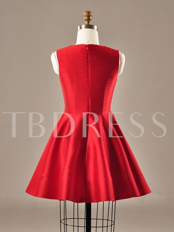 Jewel Neck A-Line Ruched Short Homecoming Dress