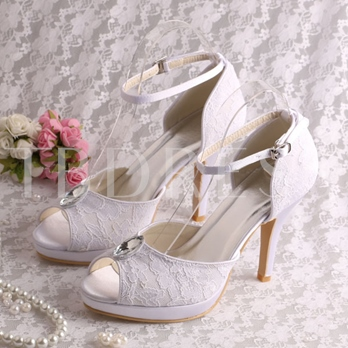 Ankle Straps Lace Peep Toe High Heels Bridal Shoes