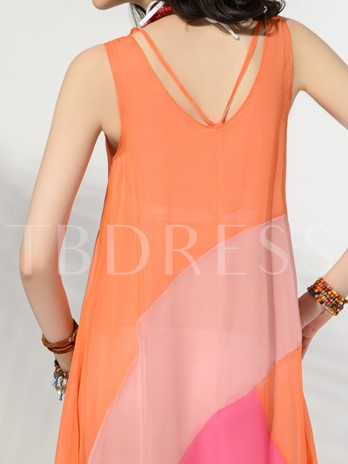 Clocolor® Chiffon Round Neck Sleeveless Bohemian Women's Maxi Dress