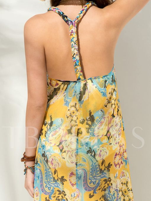 Asym Backless Print Halter Women's Day Dress