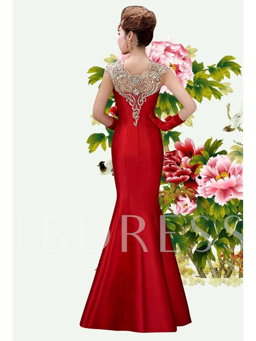 Mermaid Square Neck Zipper-Up Lace Floor-Length Evening Dress