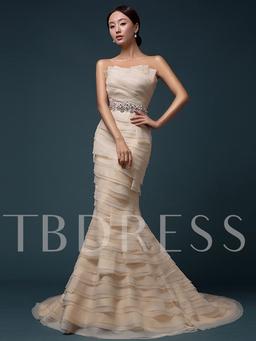 Scalloped-Edge Mermaid Organza Rhinestone Evening Dress