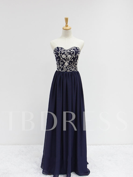 Sweetheart A-Line Beadings Floor-Length Prom Dress