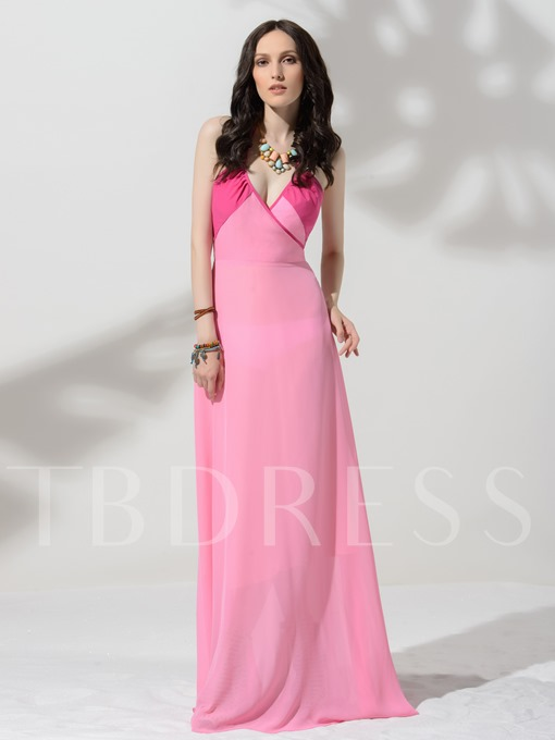Pink V-Neck Sleeveless Bohemian Women's Maxi Dress
