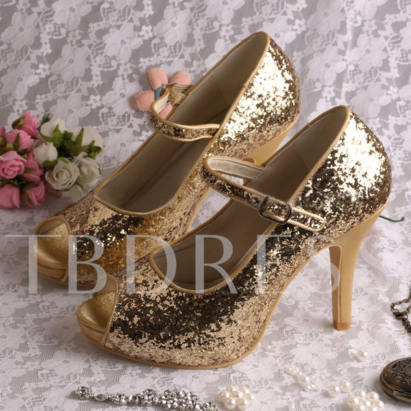 Buy Golden Sequins Peep-Toe Stiletto Heel Bridal Wedding Shoes, Spring,Summer,Fall, 11350369 for $104.98 in TBDress store