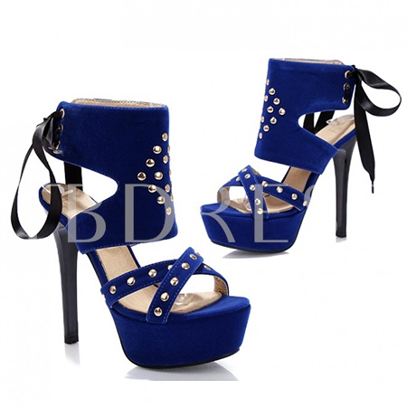 Stud Lace-up Platform Women's Sandals (Plus Size Available)