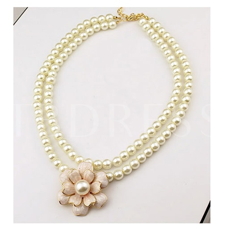 Double Layers Pearl Flower Pendant Women's Necklace