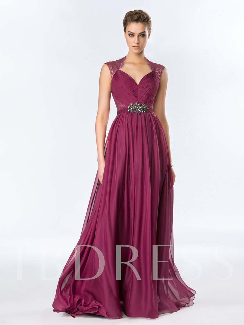 A-Line Floor-Length Rhinestone Lace Evening Dress - Tbdress.com