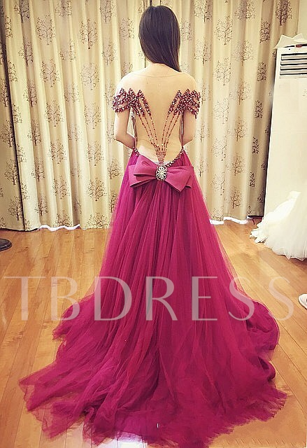 Bowknot Off-the-Shoulder Sashes A-Line Beading Evening Dress