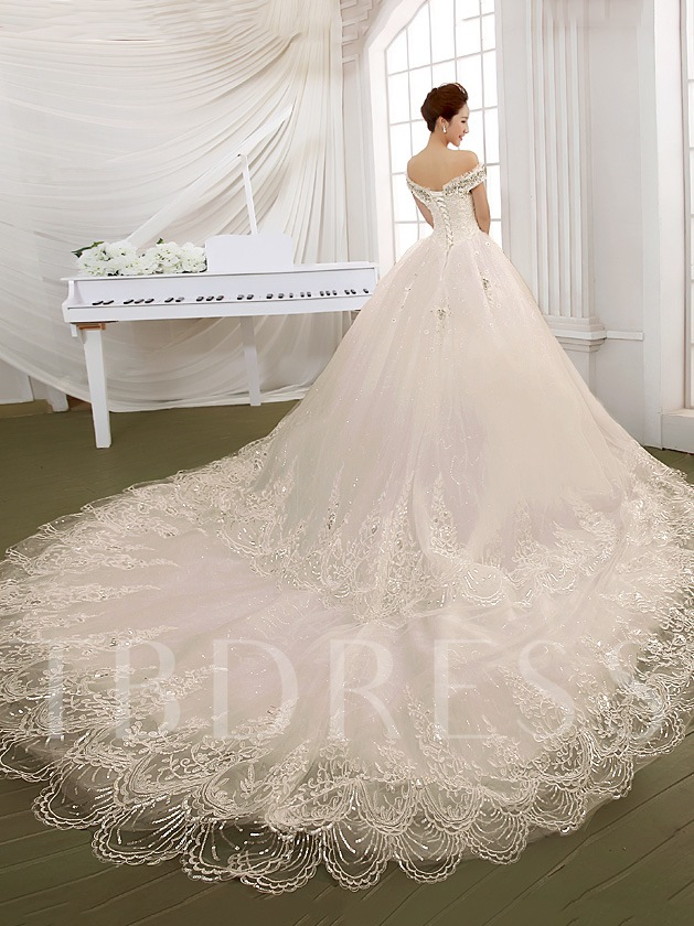 Off the Shoulder Cathedral Train Lace Wedding Dress