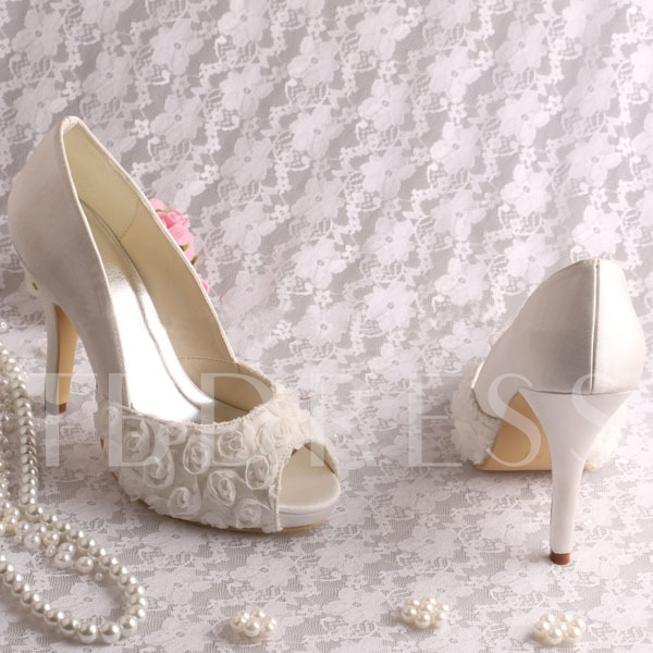 Flowers Peep-Toe High Heel Wedding Bridal Shoes