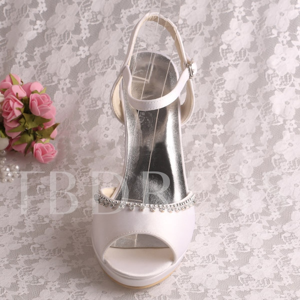 White PU Peep Toe Ankle Strap High Heel Bridal Wedding Shoes