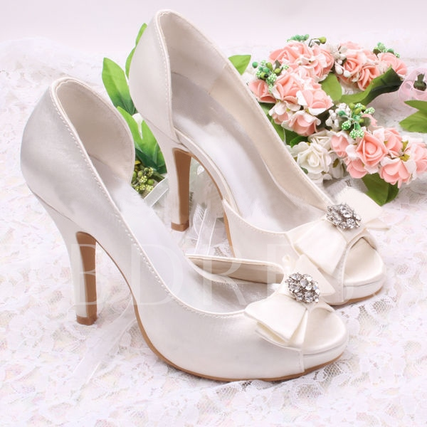 Cloth Upper Wedding/Bridal Stiletto Shoes with Bowknot