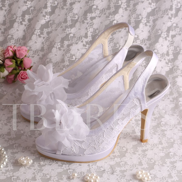 Buy Flowers Lace Peep-Toe High Heels Wedding Shoes, Spring,Summer,Fall, 11351333 for $67.99 in TBDress store