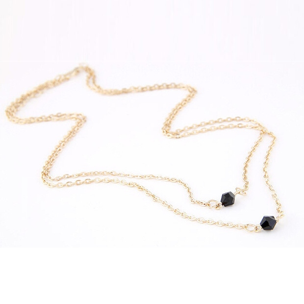 Metal Double-Layer Black Rhinestone Long Necklace