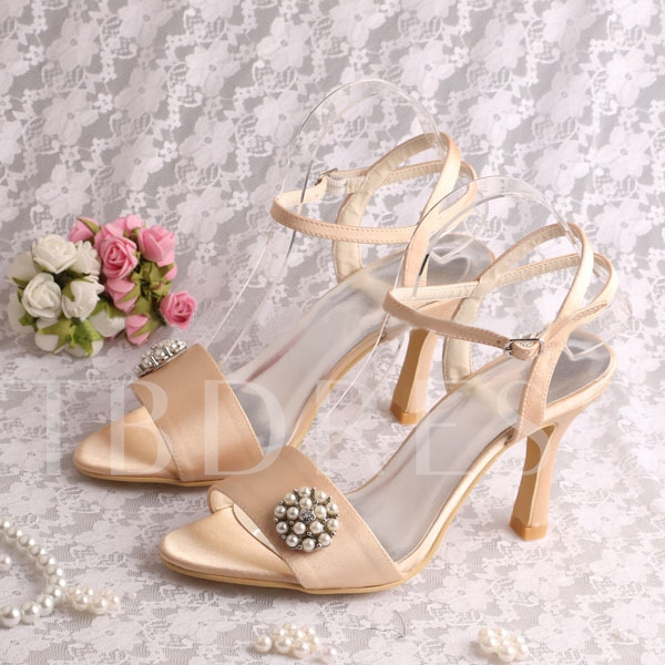 Satin Stiletto Heels Open-Toe Ankle Straps Wedding Shoes