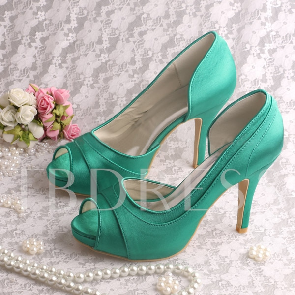 Buy Satin Peep-Toe Stiletto Heels Wedding Shoes, Spring,Summer,Fall, 11351329 for $66.99 in TBDress store