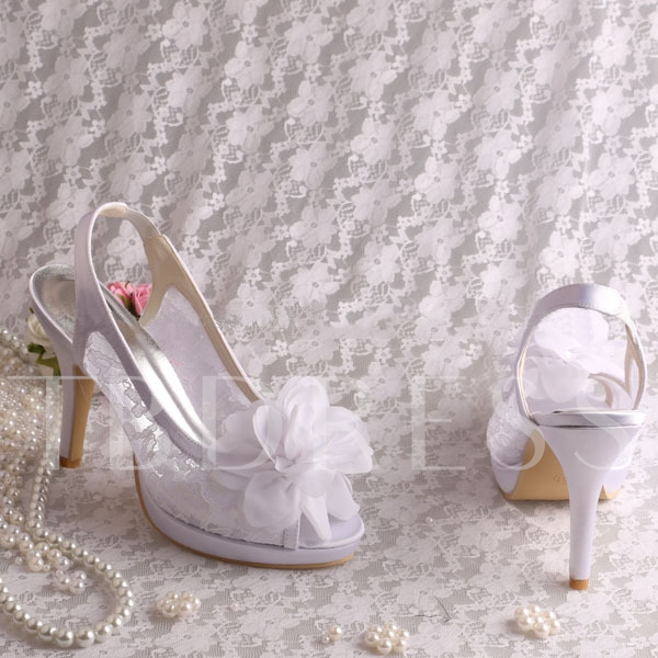 Flowers Lace Peep-Toe High Heels Wedding Shoes