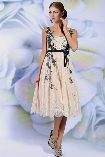 Straps A-Line Appliques Tea-Length Evening Dress