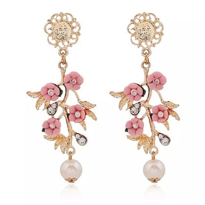 Pearl Rhinestone Flowers Women's Earrings