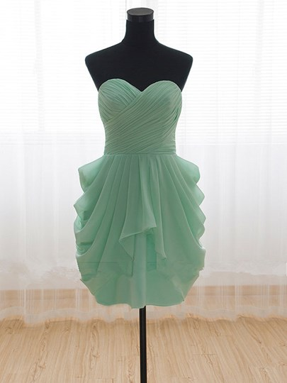 Inexpensive Short Sweetheart Draped Pleats Bridesmaid Dress