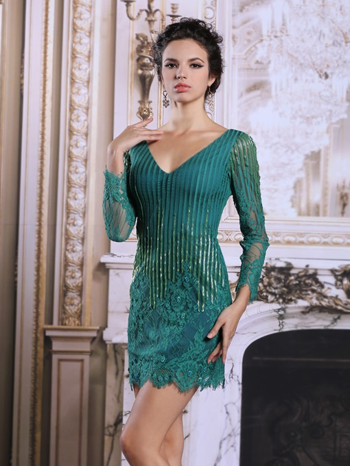 Long Sleeves V-Neck Lace Short Evening Dress