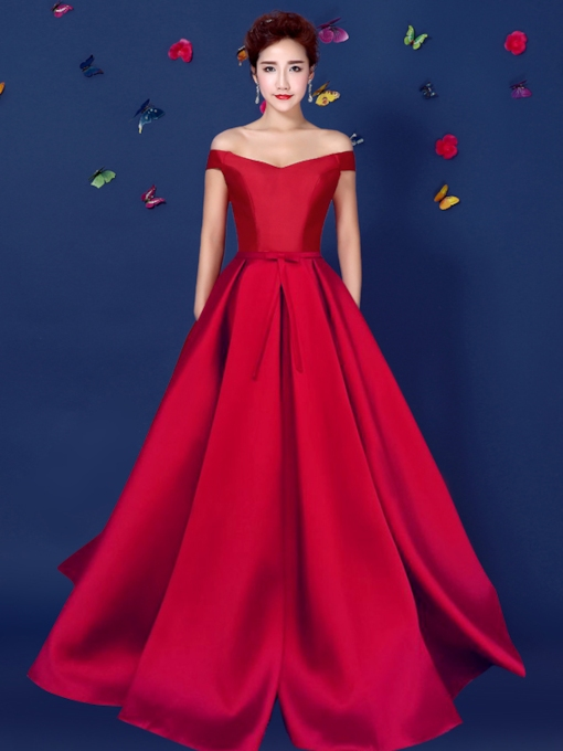 A-Line Off-the-Shoulder Floor-Length Evening Dress