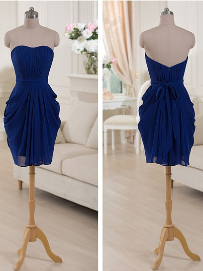 Strapless Draped Short Bridesmaid Dress