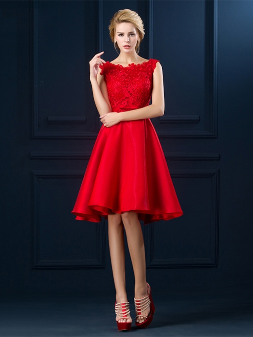 Straps Bowknot Lace Knee-Length Cocktail Dress