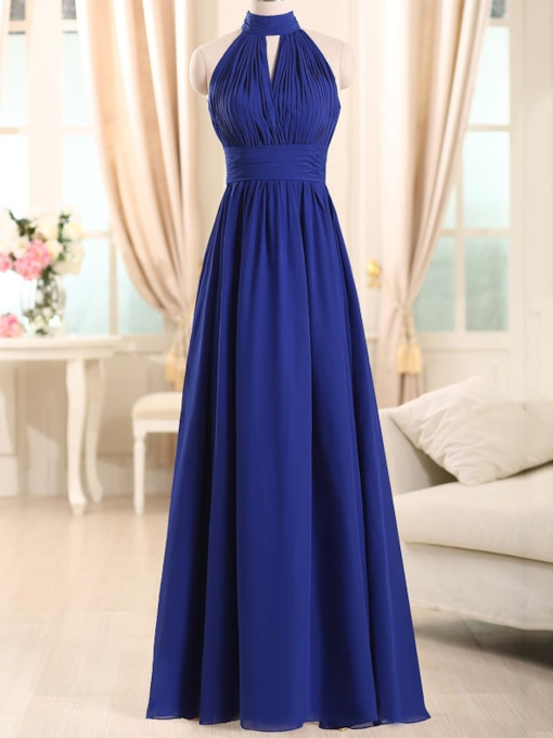 Choker Neck Pleats Long Bridesmaid Dress