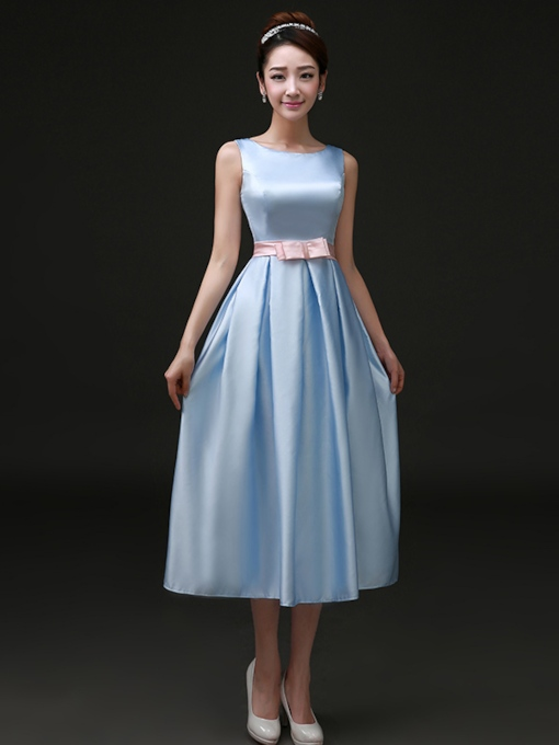 Jewel Neck Sash Tea-Length Short Bridesmaid Dress