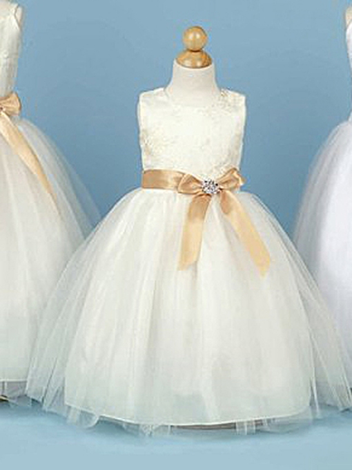 Ball Gown Bateau Floor-length Flower Girl Dress