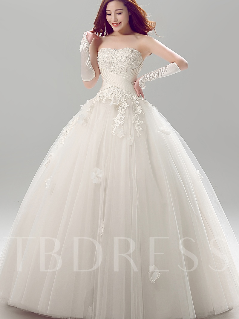 Image of Empire Floor-Length Ball Gown Strapless Tulle Lace Wedding Dress