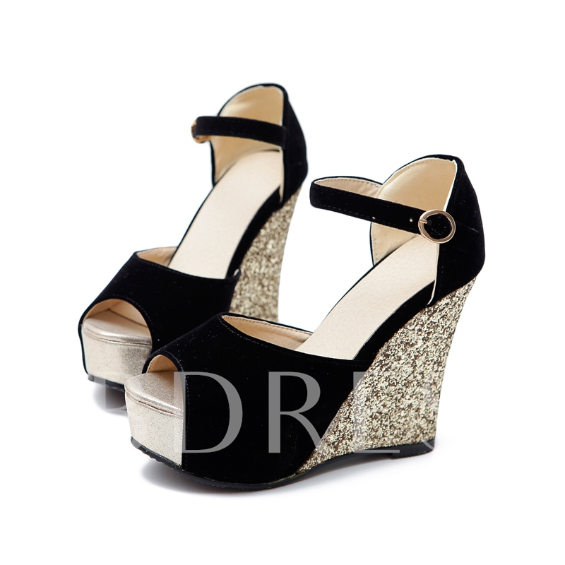 Peep Toe Sequins Wedges Women's Sandals