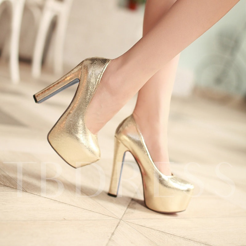 Platform Chunky Heel Round Toe Slip-On Women's Pumps
