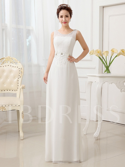 Chiffon Lace Column/Sheath Sequins Beach Wedding Dress
