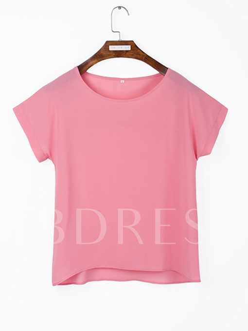 Solid Color Short Sleeve Women's T-Shirt